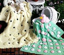 Baby Afghan Blanket Two crochet patterns Babys Garden and Baa Baa Blankie   147