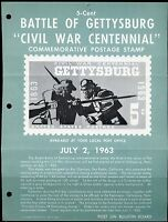 UNITED STATES MINT SOUVENIR PAGE 1963 BATTLE OF GETTYSBURG  FOLDED PUNCH HOLES