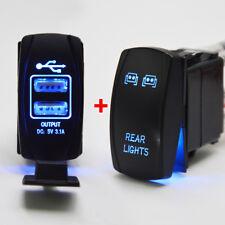 "USB Charger+""REAR LIGHTS""Rocker Switch FIt Polaris Can-am HONDA YAMAHA ATV UTV"