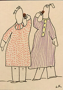 "ACEO original women Bernice and Mae chocolate Drawing by Lynne Kohler 2.5x3.5"""