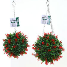 Topiary Balls Artificial Lavender Buxus Flower Hanging Basket Plant Purple Red Red 30cm 3