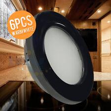 6*LED 12V 70mm Black Recessed Ceiling Light RV Trailer Boat Cabin Down Light WW
