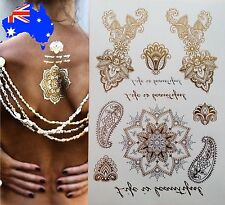 Metallic Temporary Flash Tattoos Henna Body Jewellery Mandala Gold Silver Boho