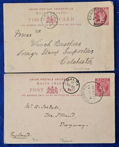 1885 Malta POST PAID POSTCARDS QV 1d type 1 Cospicua and type 2 Sliema cancels