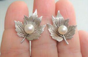 MIKIMOTO Logo Genuine Pearls, Silver Stamped, Vintage Leaf Screw Back Earrings S