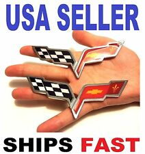 X2 CORVETTE PIECES Cross Flags TRUCK EMBLEM sign BUMPER BADGE logo FIT ALL CARS