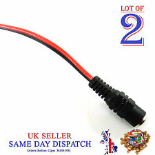 2x DC Power 2.1mm FEMALE Socket Fly Lead Cable Jack Connector CCTV Camera
