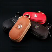 Genuine Leather Car Remote Key Chain Holder Key Cover Fobs Case for VW Audi BMW