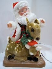 SANTA'S BEST 1996 RARE TALL VARIATION CHRISTMAS ANIMATED SANTA PETTING DEER