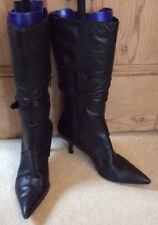 OFFICE BLACK LEATHER CALF LENGTH BOOTS SIZE 6/39