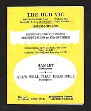Richard Burton * OLD VIC * Claire Bloom / John Neville 1953 London Season Flyer