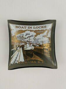 Vintage Panama R.P. Boat in Locks Small Smoked Glass Dish Ashtray