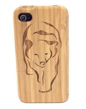 iPhone 4/4s Bamboo Wood Case ( Bear Laser Engraving ) 100% Genuine Wood Cover✔️