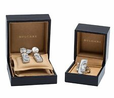 Bvlgari Diamond and Mother of Pearl Ring and Earring Set 18K White Gold