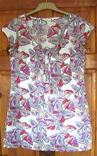 White Stuff ladies dress / long tunic top size 10 white purple butterfly print