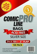 """2mil Crystal Clear OPP Bags- Silver Size 7 1/4"""" x 10 1/2""""- 2"""" Flap- 100pk"""