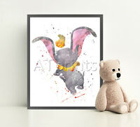 DUMBO Disney Print Poster Watercolor Framed Canvas Wall Art Nursery Illustration
