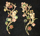 Antique Italian Pair Tole Sconces Flowered Original Candle Holders