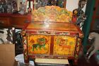 Chinese Japanese Polychrome Painted Wood Cabinet Dragons Foo Dogs Small Size