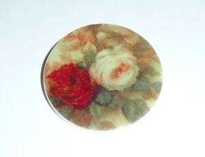 """Spring Rose Flower Button - Mother of Pearl MOP Shank Button 1+3/8"""" Red & White"""