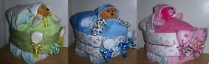 Baby Shower Bear Diaper Bassinet, Hat, Gloves, Pacifier, Burp Cloth, Lollipop