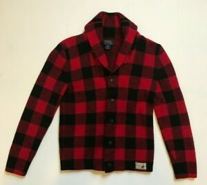 POLO RALPH LAUREN Boys Wool CARDIGAN Sweater Long Sleeve RED Black Size M 8-10