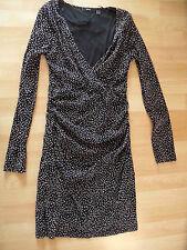 MEXX schönes Jerseykleid m. Raffungen schwarz m. rosa Punkten Gr. XS w. NEU 316