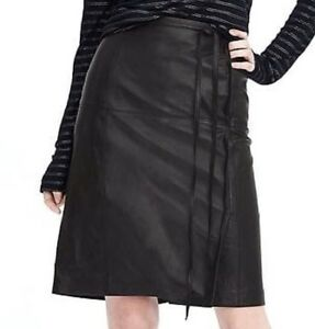New without tag $348 Banana Republic Limited Edition Tie Wrap Leather Skirt Sz 6