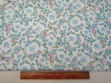 Vintage Cotton Flannel Fabric Soft Lightweight Blue Pink Flower Wreaths 1+YD 46W