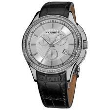Akribos XXIV AK615SS Swiss Chronograph Date Crystal Bezel Silvertone Mens Watch
