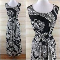 Vintage 60s 70s Black White Paisley Long Maxi Dress Hippie Boho L XL