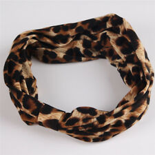 Hot Women Leopard Striped Yoga Headband Elastic Knotted Stretch Hair Band Turban