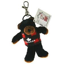 "Stuffed Animal House 4.25"" Mini Black Bear Plaid Plush Keychain Zipper Pull NWT"