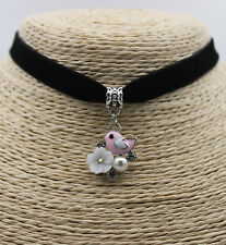 Pink Bird Flower Pearl Crystal Pendant Jewelry Choker Collar Bib Necklace #01