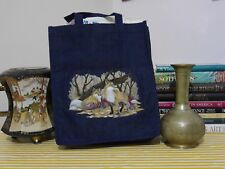 Embroidered Wild Life @ Autumn Fox: Denim/Jeans Tote Bag. Small Size