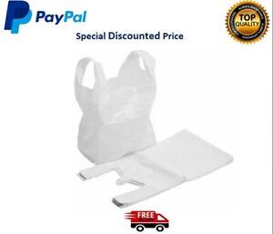 10-2000 VEST CARRIER BAGS WHITE STRONG  PLASTIC STYLE HI TENSILE BAG LOT
