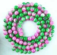 Beautiful unique 8mm pink and green Lampwork Glass loose bead 15.5 inch BA938