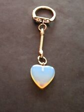 BLUE MOONSTONE SPECIAL HEALING CRYSTAL GEMSTONE HEART PENDANT KEYRING/KEY CHAIN