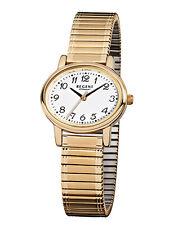 Regent Damenuhr Armbanduhr Zugband Flexband gold rund Zahlen Sekunde F896 NEU