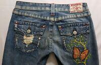 True Religion Joey Womens Denim Blue Jeans Size 27 x 31 Flare Light Wash Flap