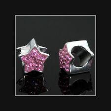 1PC Sterling Silver Pink Rhinestone Star Focal Bead Fit European Bracelet #51575