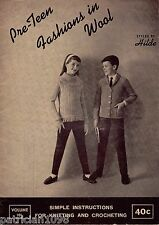 Hilde Pre Teen Fashions Knitting Patterns Children Sweater Cardigan Jacket 1961