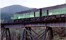 Burlington Northern F9 diesel locomotive train railroad postcard