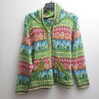 Alpaca Fina Zip Front Hood Cardigan Sz Small Colorful Sweater Geometric Pockets