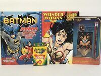 4 Kids DC Wonder Woman & Batman Jumbo Coloring/Activity Books + Fun Set + Crayon