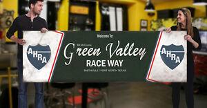 1960s Green Valley Race Way Garage Banner Hot Rod AHRA NHRA Drag Nitro Texas