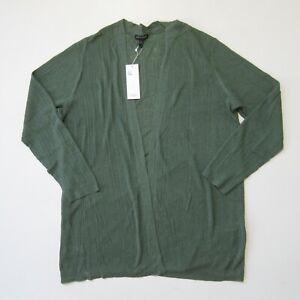NWT Eileen Fisher Simple Cardi in Nori Green Organic Linen Cotton Sweater L