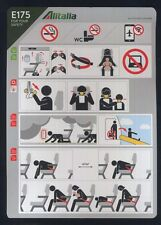 ALITALIA new STYLE  Embraer E 175 airline SAFETY CARD airways sc736 ax