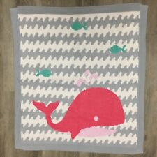 NYGB Not Your Grandmas Blanket Baby Knit Ocean Whale Fish Pink Gray Teal 30x28.5