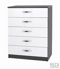 Mono 5 Drawer Chest Black with White Gloss Drawers FULLY ASSEMBLED
